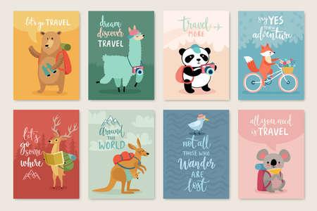 Zestaw kart zwierząt podróży, ręcznie rysowane styl, ilustracji wektorowych. Ilustracje wektorowe