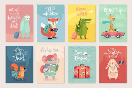 Travel Animals card set, hand drawn style, Vector illustration.