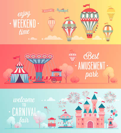 Set of Amusement park landscape banners with carousels, roller coaster and air balloon. Circus, Fun fair and Carnival theme vector illustration. Reklamní fotografie - 100944907