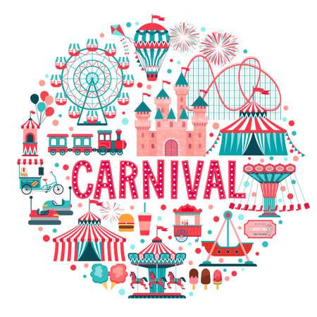 Koncepcja parku rozrywki, cyrk, karnawał i wesołe miasteczko, z kolejkami górskimi, karuzelami, zamkiem, balonem. Ilustracja wektorowa.