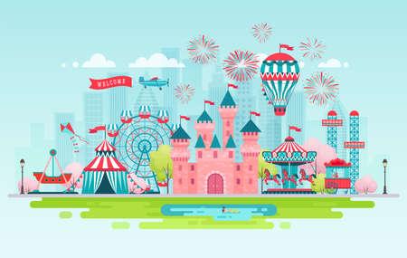 Banner di paesaggio del parco di divertimenti con giostre, montagne russe e mongolfiera. Illustrazione di vettore di tema di circo, luna park e carnevale.