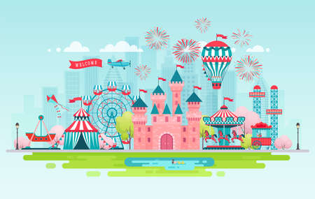 Amusement park landscape banner with carousels, roller coaster and air balloon. Circus, Fun fair and Carnival theme vector illustration.