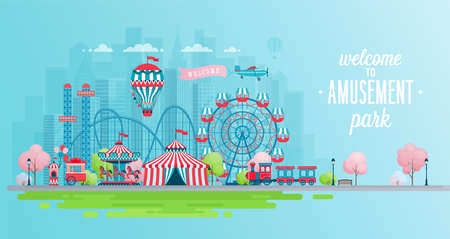 Amusement park landscape banner with carousels, roller coaster and air balloon. Circus, Fun fair and Carnival theme vector illustration. Imagens - 100944910