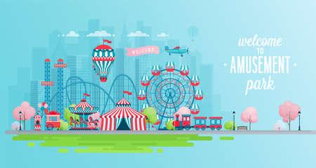 Banner de paisaje de parque de atracciones con carruseles, montaña rusa y globo de aire. Ilustración de vector de tema de circo, feria y carnaval.