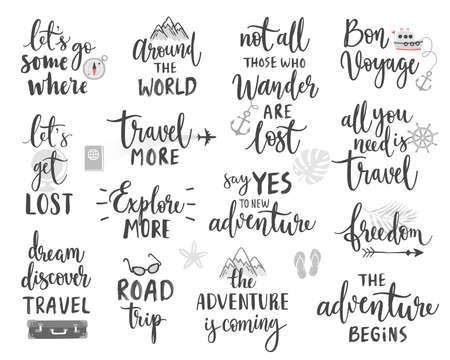 Travel Lettering Design Set - Sammlung von Handschriften, Reise-, Reise- und Abenteuerthemen Vektorillustration. Vektorgrafik