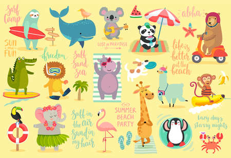 Beach Animals hand drawn style, Summer set - calligraphy and other elements. Panda, elephant, hippo, bear, penguin, sloth, koala, lion, whale and others. Vector illustration. 矢量图像
