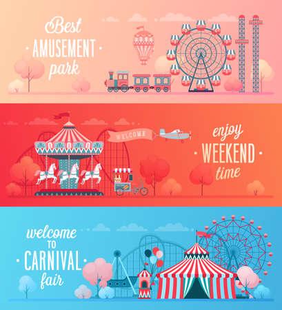 Conjunto de banners de paisaje de parque de atracciones con carruseles, montaña rusa y globo de aire. Ilustración de vector de tema de circo, feria y carnaval.