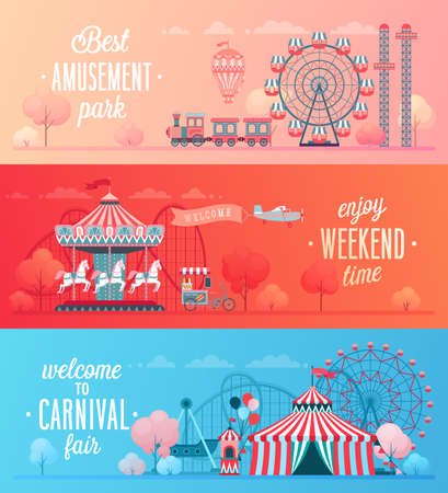 Set of Amusement park landscape banners with carousels, roller coaster and air balloon. Circus, Fun fair and Carnival theme vector illustration. Stock fotó - 102202013