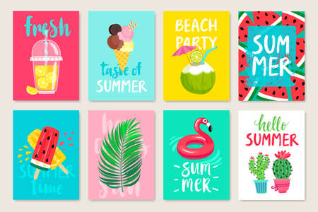 Summer hand drawn calligraphyc card set with fruits, cocktails, ice cream. Use it for flyers, postcards, banners, posters and other designs. Vector illustration. Stockfoto - 102255996
