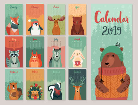 Calendar 2019. Cute monthly calendar with forest animals. Hand drawn style characters. Vector illustration. Banque d'images - 103005925