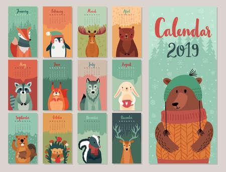 Kalender 2019. Leuke maandkalender met bosdieren. Hand getrokken stijlkarakters. Vector illustratie.
