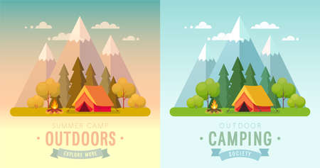 Summer Camping day and sunset graphic posters. Banners with mountains, trees, tent and campfire. Climbing, hiking, trakking sports Vector illustration.