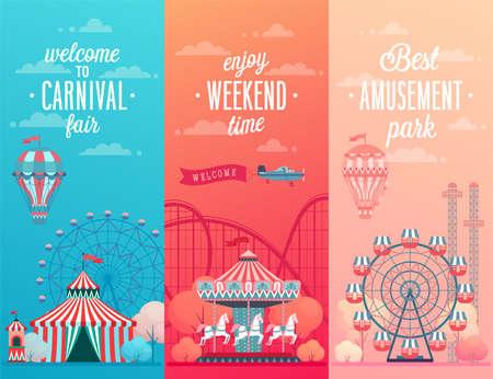 Conjunto de banners de paisaje de parque de atracciones con carruseles, montaña rusa y globo de aire. Ilustración de vector de tema de circo, feria y carnaval. Ilustración de vector