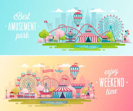 Bandiere del paesaggio del parco di divertimenti con giostre, montagne russe e mongolfiera. Illustrazione di vettore di tema di circo, luna park e carnevale.