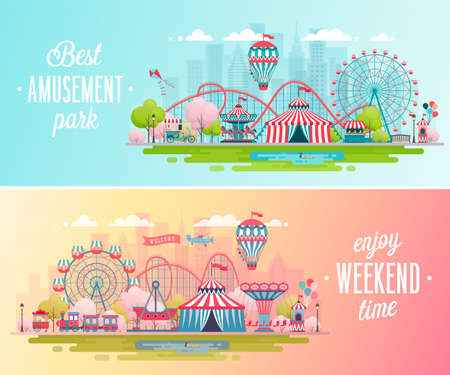 Amusement park landscape banners with carousels, roller coaster and air balloon. Circus, Fun fair and Carnival theme vector illustration.