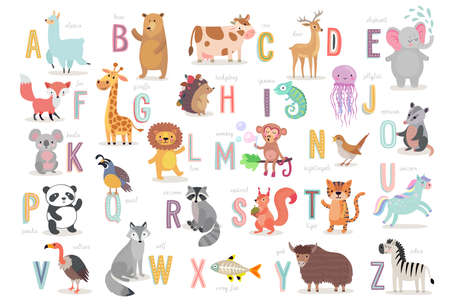 Cute Animals alphabet for kids education. Funny hand drawn style characters. Vector illustration.