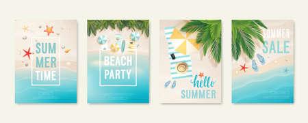 Tarjetas de playa tropical con arena, mar y palmeras. Volantes de verano con estrellas de mar, chanclas y sombrillas. Carteles de venta de verano y verano. Ilustración vectorial Ilustración de vector