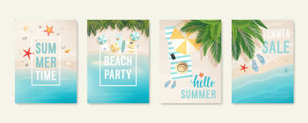 Tropical beach cards with sand, sea and palm trees. Summer flyers with starfish, flip flops and beach umbrellas. Summer time and summer sale posters. Vector illustration. Vetores