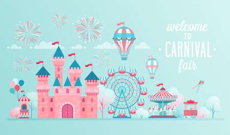 Bandiere del paesaggio del parco di divertimenti con castello, giostre e mongolfiera. Illustrazione di vettore di tema di circo, luna park e carnevale. Vettoriali