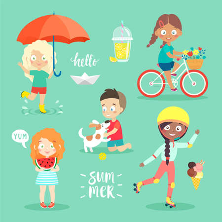 Summer Kids set, riding bicycle, playing and having fun. Vector illustration.