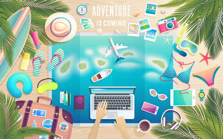 Adventure is comming. Preparing for the trip to tropical paradise. Summer travel poster, packing stuff on wooden desk. Vector illustration.