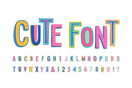 Niedliches Alphabet in Großbuchstaben. Buchstaben, Zahlen und Symbole. Vektor Hand gezeichnete Typografie für Banner, Überschriften, Poster. Moderne lustige Schrift.