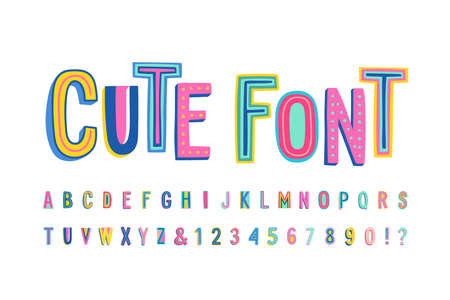 Uppercase cute alphabet font. Letters, numbers and symbols. Vector Hand drawn typography for banners, headlines, posters. Modern funny typeface.