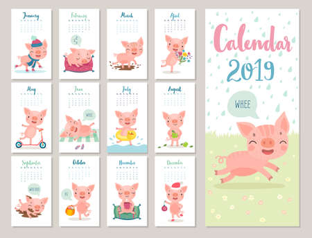 Kalender 2019. Leuke maandkalender met vrolijke zwijntjes. Handgetekende stijlkarakters. Reizen thema.