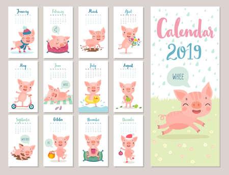 Kalender 2019. Netter Monatskalender mit fröhlichen Schweinchen. Handgezeichnete Stilfiguren. Thema Reisen.