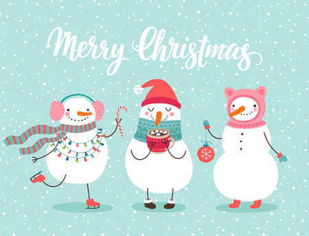 Christmas greeting card with cute snowmen. Funny characters with garland and christmas balls.