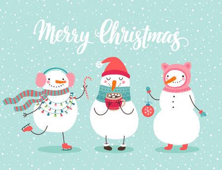 Weihnachtsgrußkarte mit süßen Schneemännern. Lustige Charaktere mit Girlande und Weihnachtskugeln.