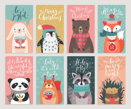 Christmas cards with animals, hand drawn style. Woodland characters, rabbit, bear, fox, raccoon, hedgehog and others. Vector illustration.