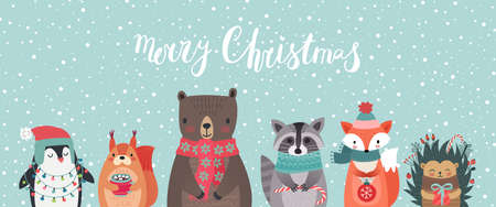 Christmas card with animals, hand drawn style. Woodland characters, bear, fox, raccoon, hedgehog, penguin and squirrel. Vector illustration. Иллюстрация