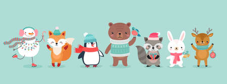 Christmas characters - animals, snowmen, Santa Claus. Cute Woodland characters, bear, fox, raccoon, hedgehog, penguin and squirrel. Vector illustration.
