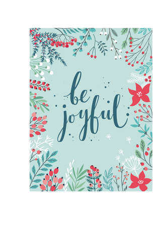 Christmas Callygraphic card - hand drawn floral Vector illustration.Handwritten lettering with christmas decorative elements.