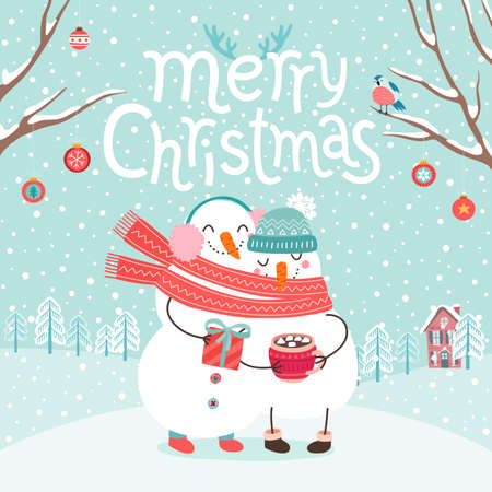 Cute snowmen couple hugging. Merry Christmas card. Vector illustration.