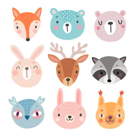 Cute Woodland characters, bear, fox, raccoon, rabbit, squirrel, deer, owl. Vector illustration. - Vector illustration