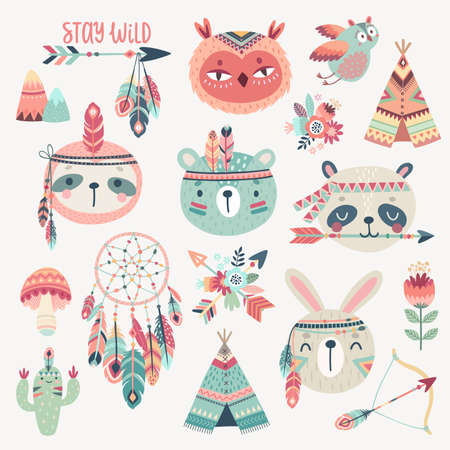 Cute Woodland boho tribal characters, rabbit, owl, sloth, panda,bear. American indian set of Vector illustration. - Vector illustration Illustration