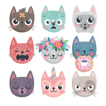 Cute kittens. Characters with different emotions - joy, anger, happines and others. Vector illustration. - Vector illustration