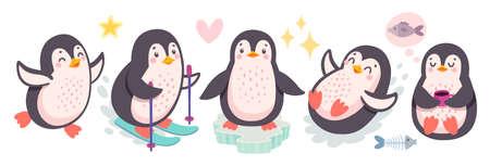 Cute penguins skiing, having fun, drinking tea. Funny characters. Vector illustration. - Vector illustration