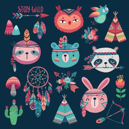 Cute Woodland boho tribal characters, rabbit, owl, sloth, panda,bear on dark background. American indian set of Vector illustration. - Vector illustration