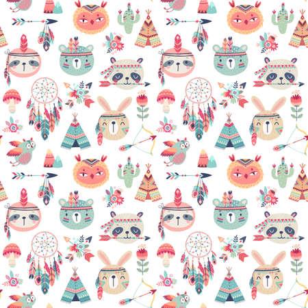Seamless pattern with Cute Woodland boho tribal pattern, rabbit, owl, sloth, panda,bear. American indian set of Vector illustration. - Vector illustration