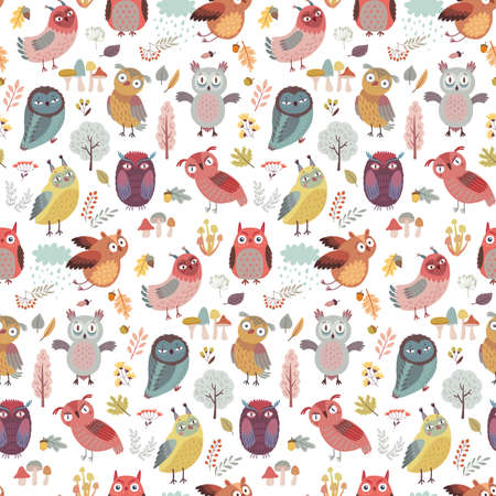 Seamless pattern with Cute Woodland owls. Funny characters with different mood. Vector illustration. - Vector illustration