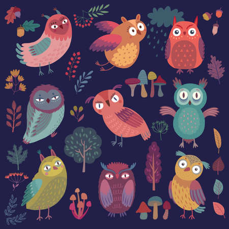 Cute Woodland owls. Funny characters with different mood on dark background. Vector illustration. - Vector illustration