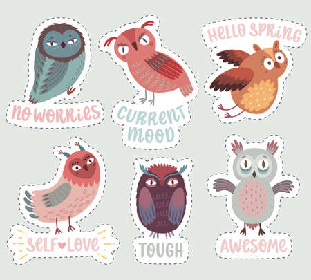 Cute Woodland owls. Funny characters with different mood. Vector illustration. - Vector illustration