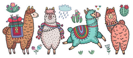 Cute Lamas standing and running. Funny hand drawn characters with cacti. Vector illustration. - Vector illustration