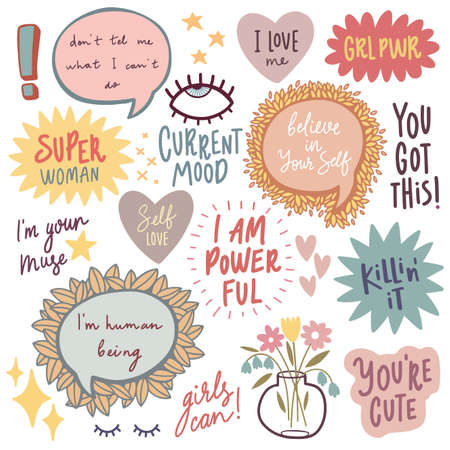 Motivation Quotes Lettering Design Set - collection of handwritingsand other elements. Vector illustration. - Vector illustration