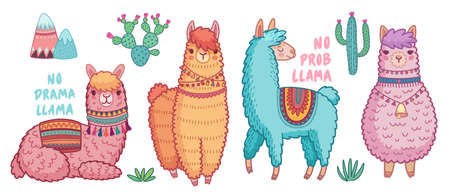 Cute Lamas with funny quotes. Funny hand drawn characters. Vector illustration. - Vector illustration 向量圖像