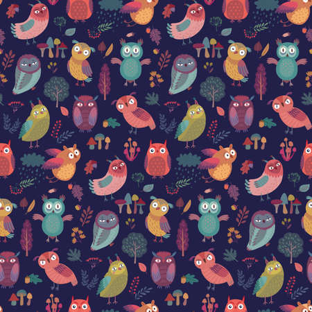 Seamless pattern with Cute Woodland owls. Funny characters with different mood on dark background. Vector illustration. - Vector illustration Illustration