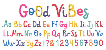 Uppercase and lowcase cute alphabet font  Letters, numbers and